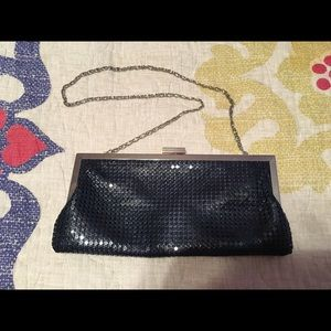 Style & Co Navy Metal Mesh Clutch- NWOT